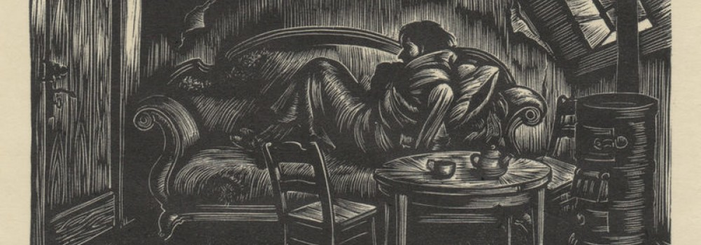 raskolnikov in the attic from crime and punishment by fritz eichenberg